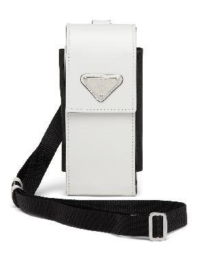 Prada triangle-logo leather phone case