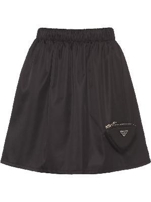 Prada logo-plaque high-waisted skirt