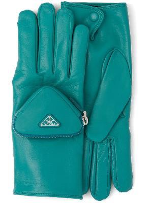 Prada triangle logo pouch-detail gloves