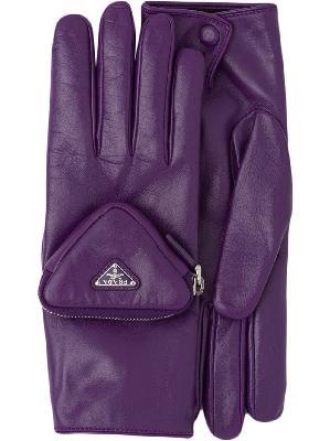 Prada pouch detail logo gloves