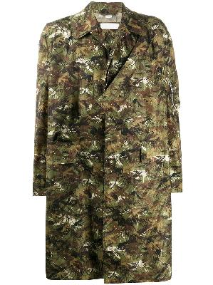 Random Identities camouflage-print single-breasted coat