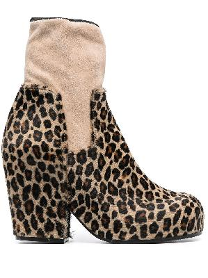 Random Identities panelled leopard ankle boots