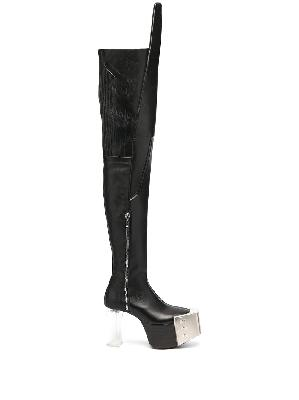 Rick Owens perspex-heel thigh-high boots