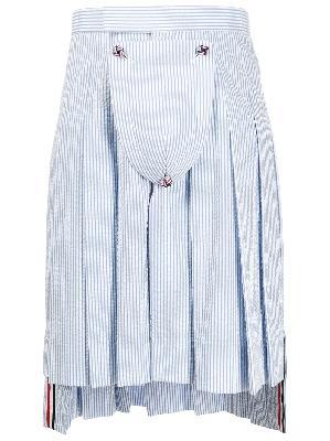 Thom Browne seersucker striped pleated skirt