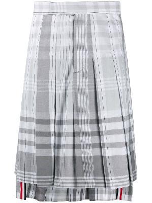 Thom Browne plaid Madras-print pleated skirt