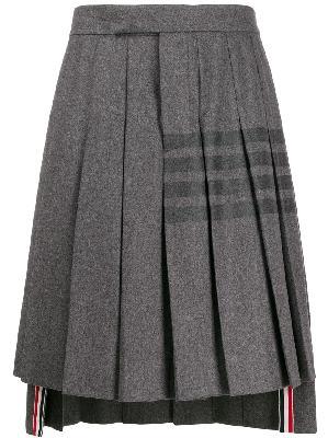 Thom Browne knee-length pleated 4-Bar striped skirt