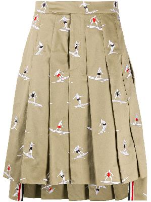 Thom Browne surfers embroidered pleated skirt