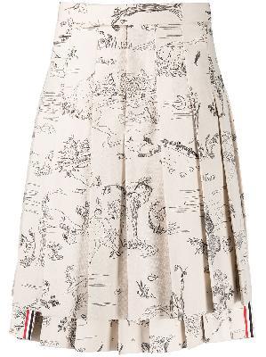Thom Browne sketch-print pleated suit skirt