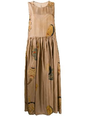 Uma Wang face print pleated dress