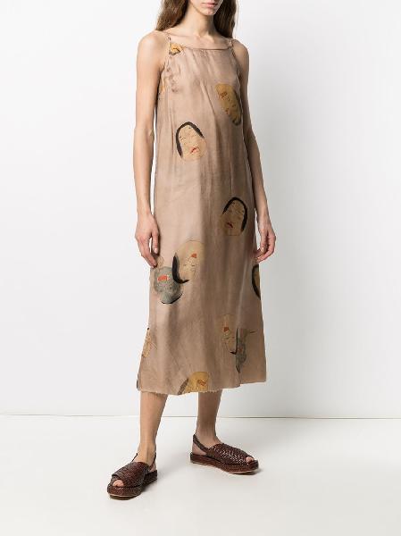 Uma Wang faces-print midi dress