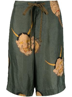 Uma Wang graphic-print drawstring shorts