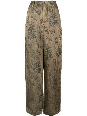 Uma Wang floral-print straight-leg trousers