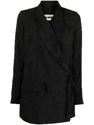 Uma Wang jacquard wrap-tie blazer
