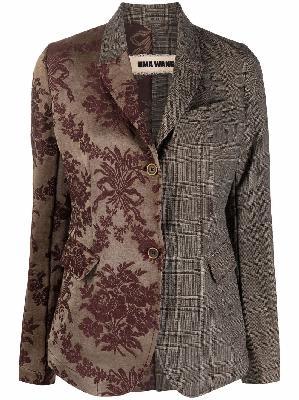 Uma Wang two-tone floral-embroidered blazer