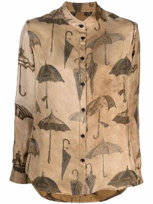 Uma Wang umbrella-print silk shirt
