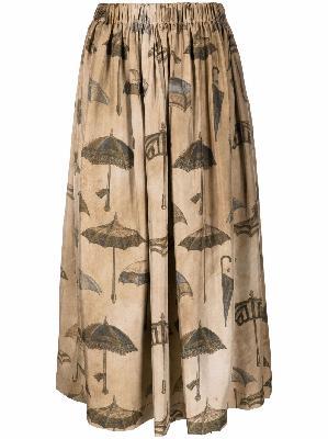 Uma Wang umbrella-print silk midi skirt