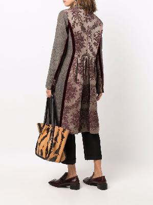 Uma Wang contrast-panel single-breasted coat