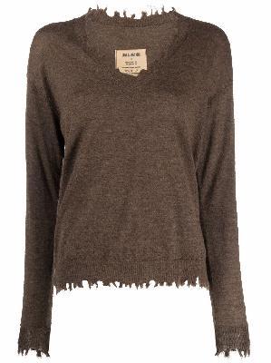 Uma Wang frayed-edge cashmere jumper