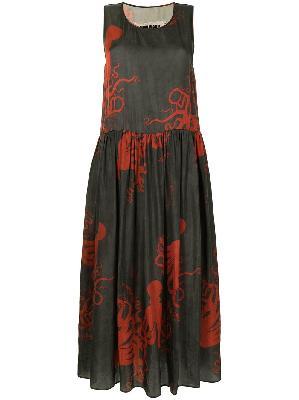 Uma Wang empire line octopus-print long dress