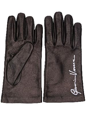 Versace embroidered logo gloves