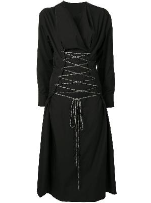 Yohji Yamamoto waist-tied midi dress
