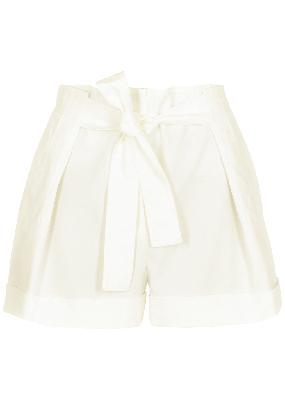 White belted cotton-blend shorts
