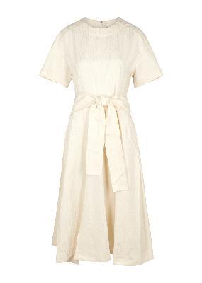 Ivory cotton-blend midi dress