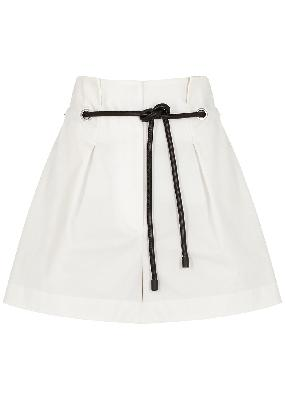 Off-white belted cotton-blend shorts
