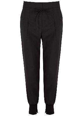 Black cotton-blend trousers