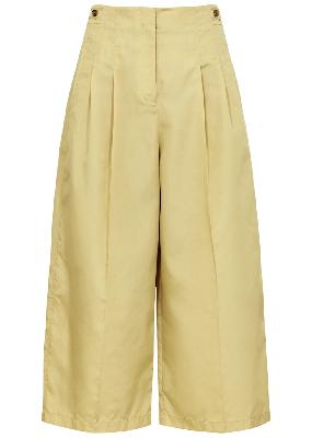 Sand cropped wide-leg taffeta trousers