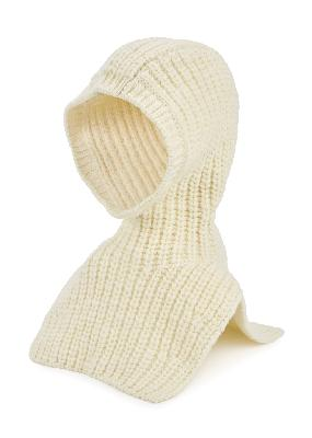 Cream chunky-knit wool balaclava