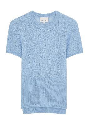 Light blue open-knit alpaca-blend jumper