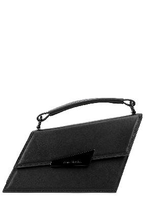Distorted mini black leather cross-body bag