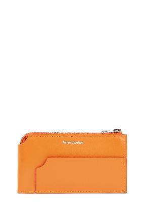 Orange leather card holder