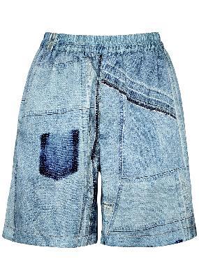 Ren denim-print satin shorts