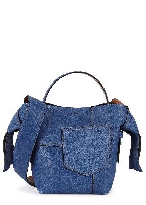 Musubi mini denim-effect nubuck cross-body bag