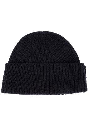 Navy wool and cashmere-blend beanie
