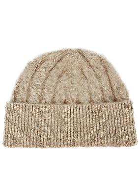 Stone cable-knit wool-blend beanie