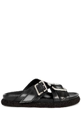 Bullak dark grey leather sliders