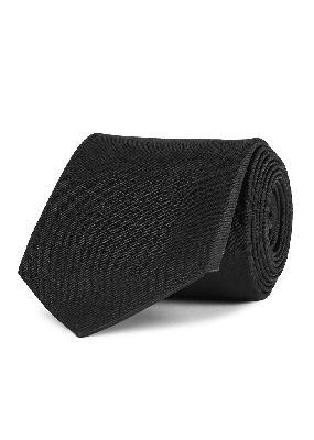 Black skull-embellished silk tie