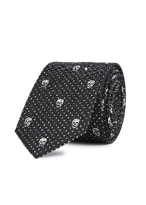 Skull And Polka Dots silk-jacquard tie