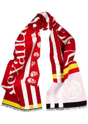 Red logo-intarsia wool-blend scarf