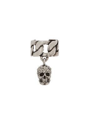 Skull-embellished silver-tone ear cuff