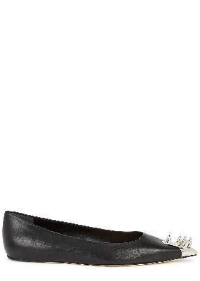 Black spike-embellished leather flats