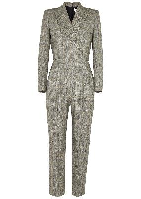 Checked stretch-wool jumpsuit