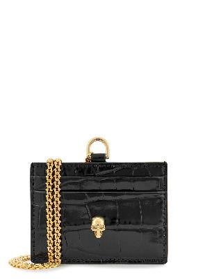 Black leather cardholder and chain