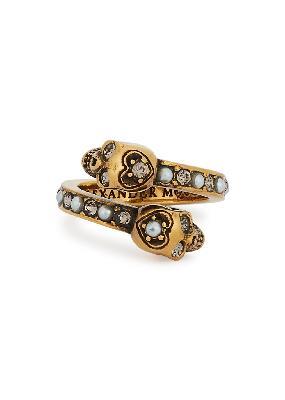 Skull-embellished gold-tone ring