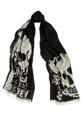Oversized Punk black wool scarf