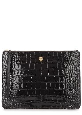 Black crocodile-effect leather pouch