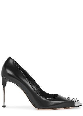 100 black spike-embellished leather pumps